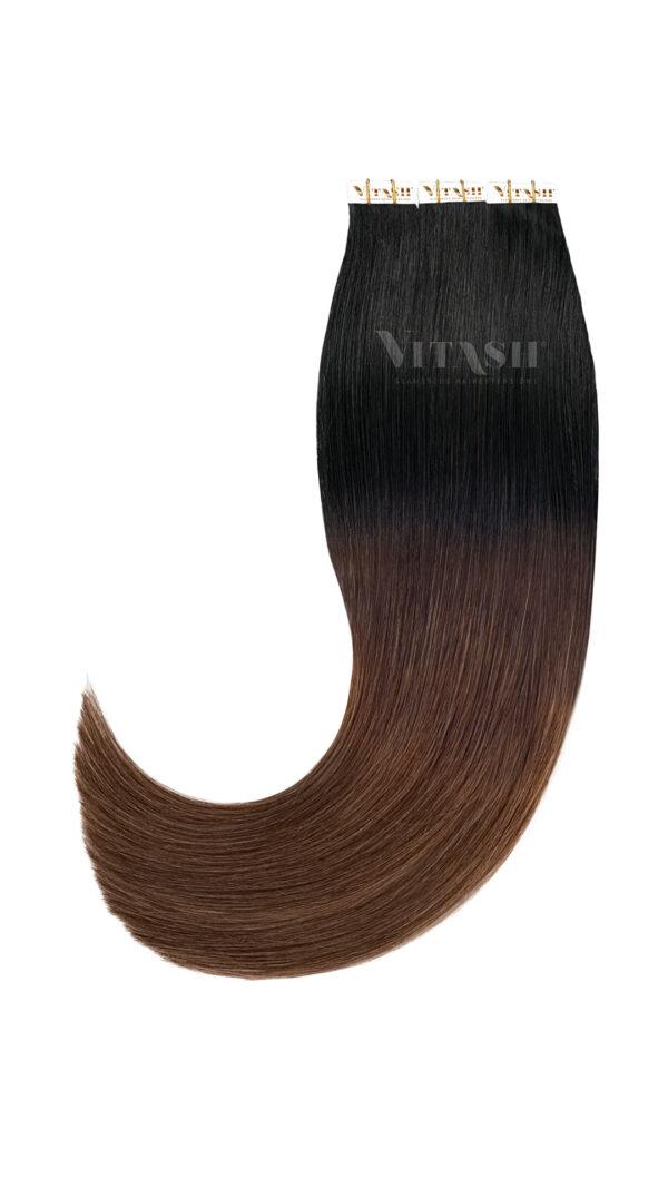 20 Remy Tape In Extensions Haarverlaengerung | Farbe Ombre Schwarz Schokobraun 50cm