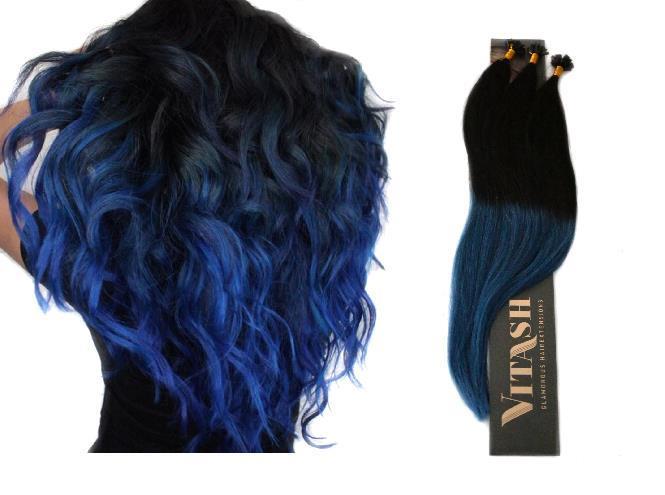 25 REMY | Keratin Bonding | Haarverlängerung | Extensions | Indische Echthaar Strähnen # OMBRE Schwarz - Blau