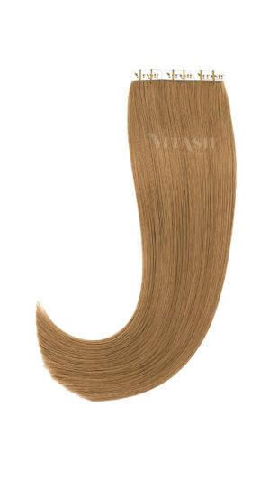 10 Tape In | Extensions | Remy | Haarverlängerung | Indische Echthaar Strähnen | Tressen Skin Weft | #10- Hellaschbraun