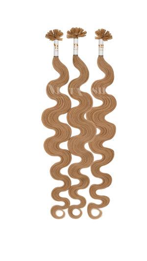 25 REMY Keratin Bonding | leicht gewellt | Haarverlängerung | Extensions | Indische Echthaar Strähnen  #12- Dunkelgoldblond