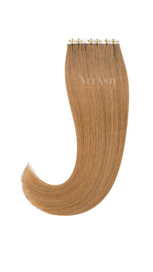 10 Remy Tape In Extensions Haarverlängerung Indische Echthaar Strähnen Tressen #12- Dunkelgoldblond