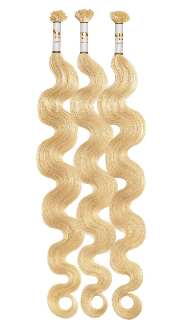 25 REMY Keratin Bonding Extensions Haarverlaengerung Leicht gewellt Farbe Honigblond Schokobraun | Vitash