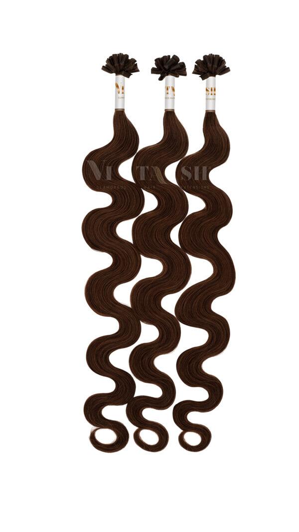 25 REMY Keratin Bonding Extensions Haarverlaengerung Leicht gewellt Farbe Dunkelbraun | Vitash