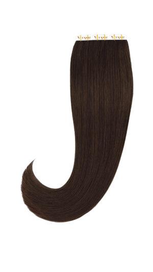 10 Remy Tape In Extensions Haarverlängerung Indische Echthaar Strähnen Tressen #2- Dunkelbraun