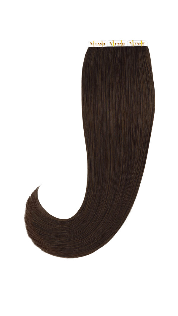 20 Remy Tape In Extensions Haarverlaengerung Farbe Dunkelbraun 50cm