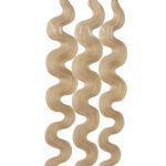 25 REMY Keratin Bonding Extensions Haarverlaengerung Leicht gewellt Farbe Hellaschblond   Vitash