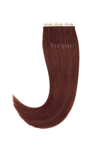 10 Tape In | Extensions | Remy | Haarverlängerung | Indische Echthaar Strähnen | Tressen Skin Weft | #35- Kupferbraun