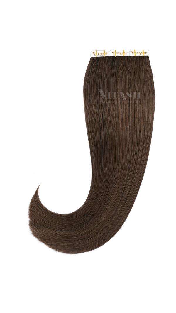 20 Remy Tape In Extensions Haarverlaengerung Echthaar Farbe Schokobraun 50cm
