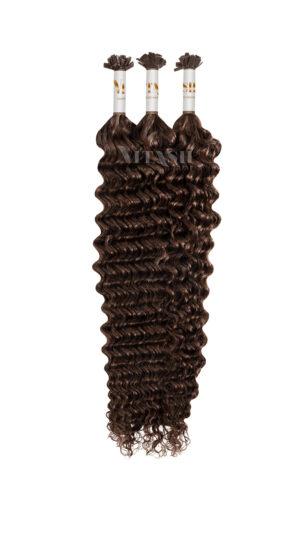 25 REMY Keratin Bonding | Starkgewellt | Dauergewellte | Haarverlängerung | Extensions | Indische Echthaar Strähnen | #4- Schokobraun