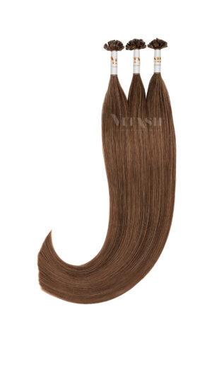 25 REMY indische Echthaar Strähnen - 1 Gramm pro Strähne #4- schokobraun