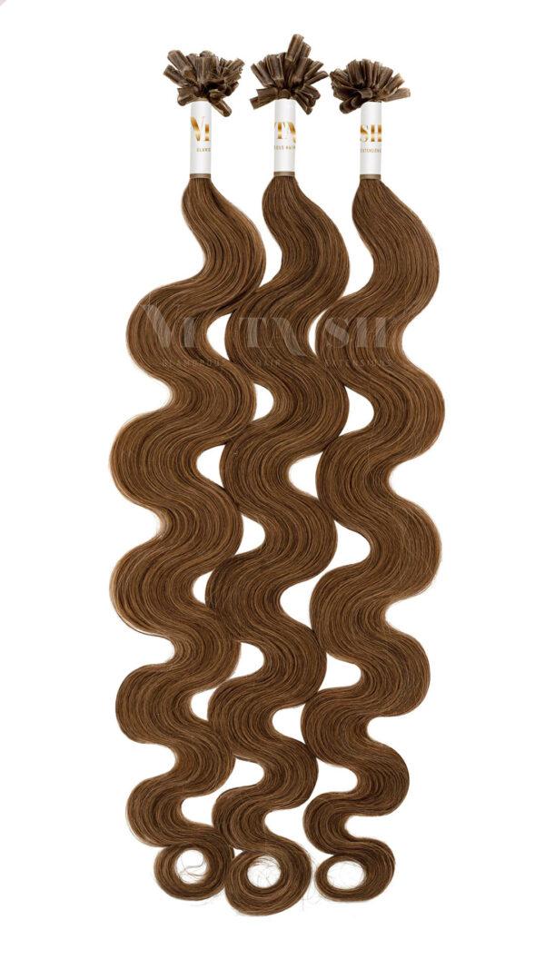 25 REMY Keratin Bonding Extensions Haarverlaengerung Leicht gewellt Farbe Schokobraun | Vitash