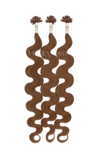 25 REMY Keratin Bonding | leicht gewellt | Haarverlängerung | Extensions | Indische Echthaar Strähnen  #6 Karamellbraun