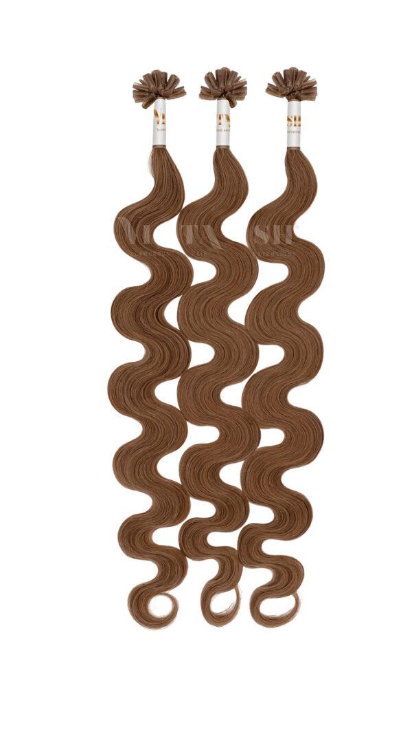 25 REMY Keratin Bonding Extensions Haarverlaengerung Leicht gewellt Farbe Karamellbraun | Vitash
