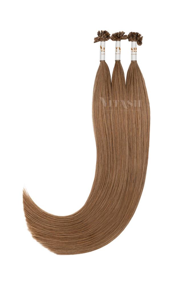 Vitash 25 Keratin Bonding straehnen | Haarverlaengerung | Extensions | Farbe # Karamellbraun | 65cm