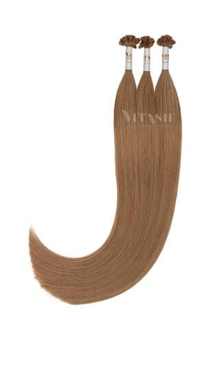 25 REMY indische Echthaar Strähnen - 1 Gramm pro Strähne #8- hellbraun