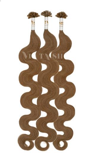 25 REMY Keratin Bonding | leicht gewellt | Haarverlängerung | Extensions | Indische Echthaar Strähnen #8- Hellbraun