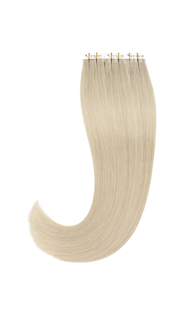 20 Remy Tape In Extensions Haarverlaengerung | Farbe Platinblond 50cm