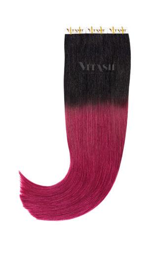 20 Remy Tape In Extensions Haarverlängerung Indische Echthaar Strähnen Tressen Skin Weft # OMBRE Schwarz / Burgundy