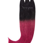 Vitash 25 Keratin Bonding strähnen   Haarverlaengerung   Extensions   Farbe #Ombre Schwarz-Burgundy   55cm