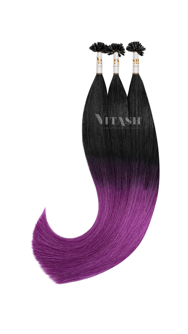 Vitash 25 Keratin Bonding strähnen   Haarverlaengerung   Extensions   Farbe # Ombre Schwarz Lila Purple   55cm
