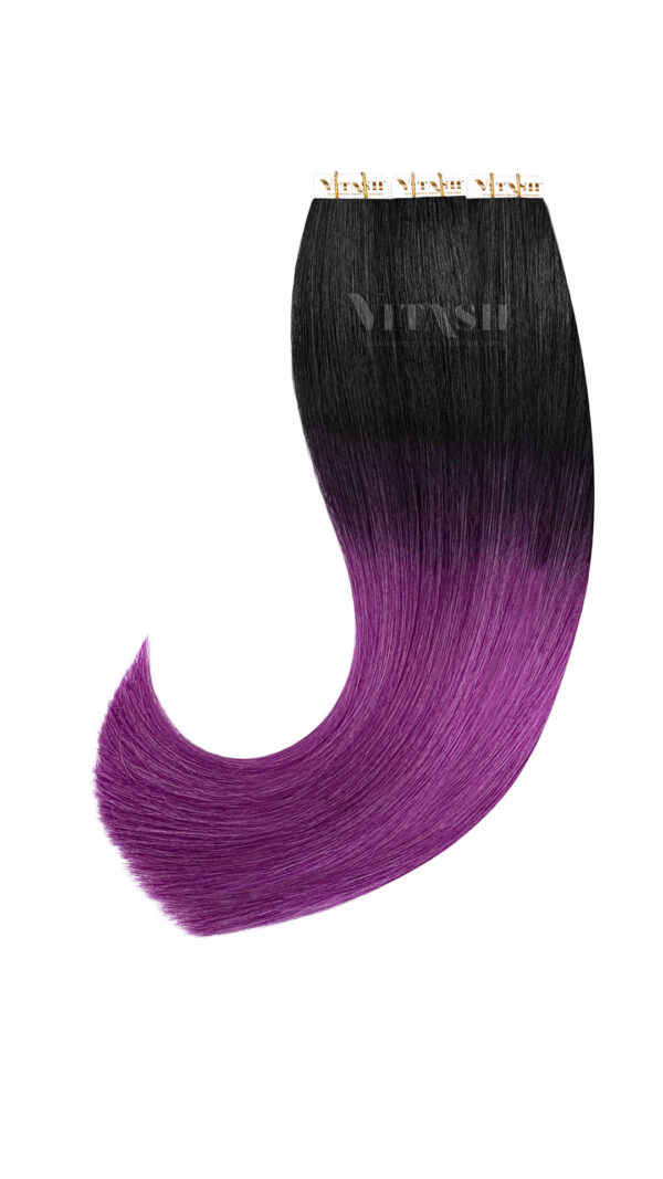 20 Remy Tape In Extensions Haarverlaengerung Farbe Ombre Schwarz Lila Purple 50cm