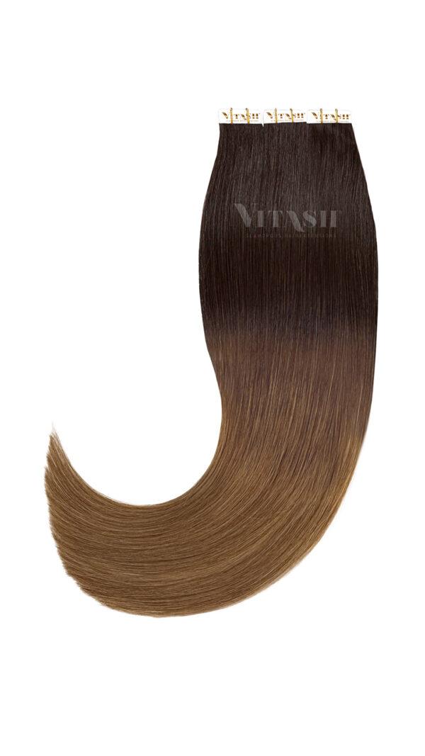 20 Remy Tape In Extensions Haarverlaengerung Farbe Ombre Schwarzbraun Karamellbraun 50cm
