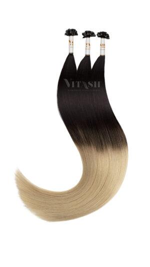 25 REMY | Keratin Bonding | Haarverlängerung | Extensions | OMBRE | Indische Echthaar Strähnen # OMBRE 1b/613 Schwarzbraun-Hellblond