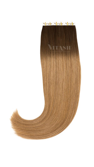 20 Remy Tape In Extensions Haarverlängerung Indische Echthaar Strähnen Tressen Skin Weft # OMBRE 2/12 Dunkelbraun / Dunkelgoldblond