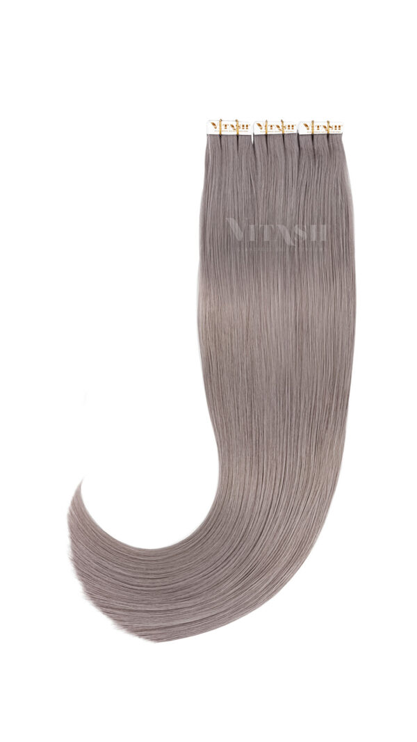 20 Remy Tape In Extensions Haarverlaengerung Tressen Farbe Silber Grau 50cm