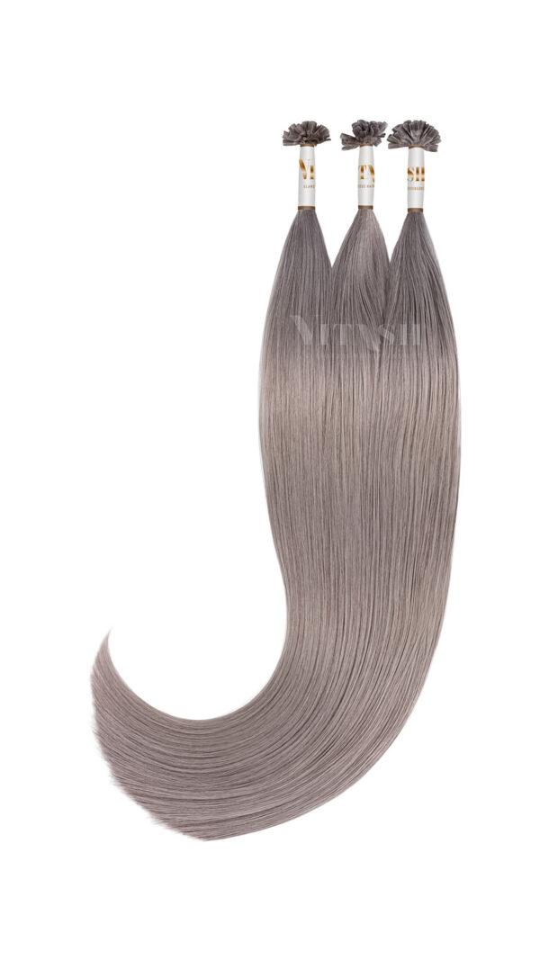 Vitash 25 Keratin Bonding straehnen | Haarverlaengerung | Extensions | Farbe # Silber Grau| 55cm