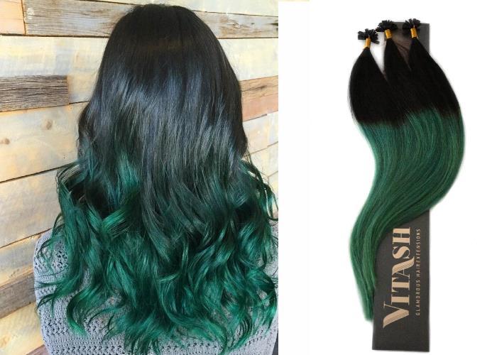 Vitash Keratin Bonding Extensions Haarverlängerung Haarverdichtung Ombre Balayage Schwarz - Grün