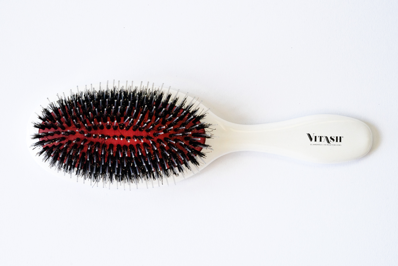 Vitash   Haarbürste   Bürste   Extensions Haarbürste   Langhaarbürste   Hairbrush   Pneumatikbürste   Wildschweinebürste gefertigt aus Kunststoff   Farbe Weiß