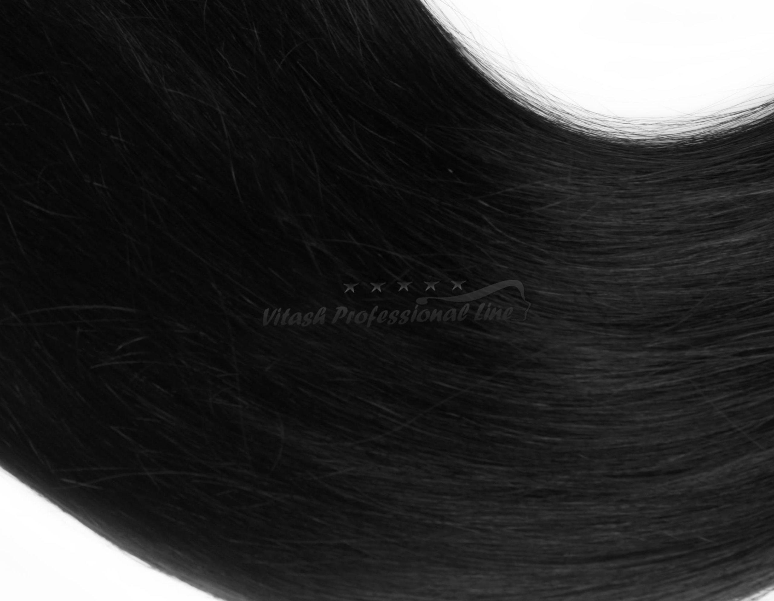 25 REMY indische Echthaar Strähnen MITTEL gewellt - 1 Gramm pro Strähne #1- schwarz