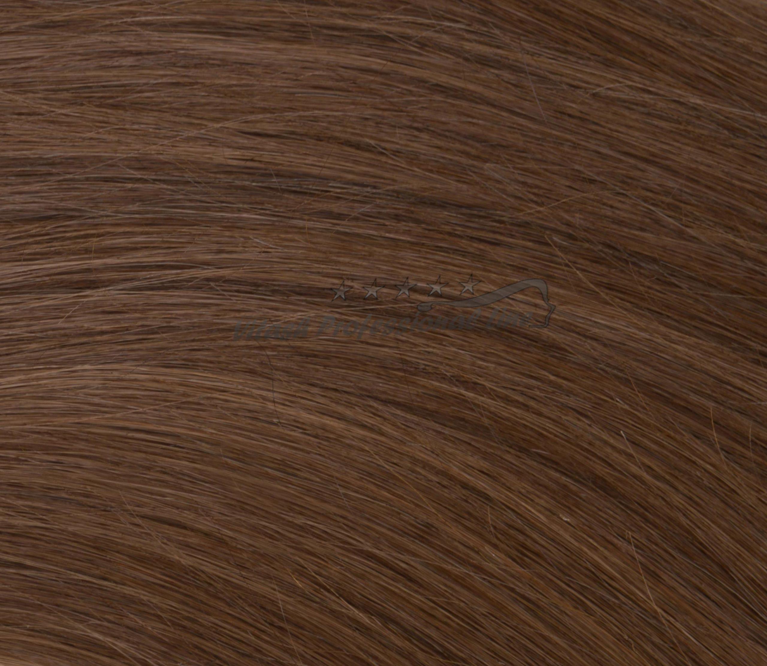 25 REMY indische Echthaar Strähnen leicht gewellt - 0,8 Gramm pro Strähne #6- karamellbraun