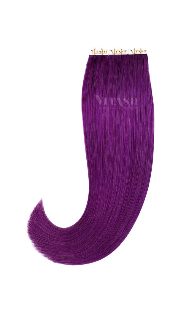 2 Remy Tape In Extensions Haarverlaengerung | Farbe Lila Purple Violet 50cm
