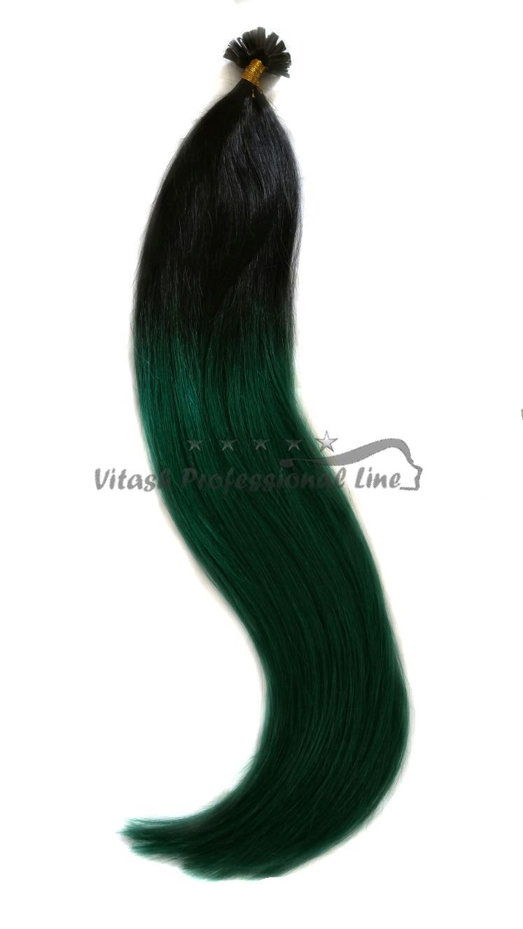25 REMY indische Echthaar Strähnen - 0,8 Gramm pro Strähne # OMBRE 1/dunkelgrün