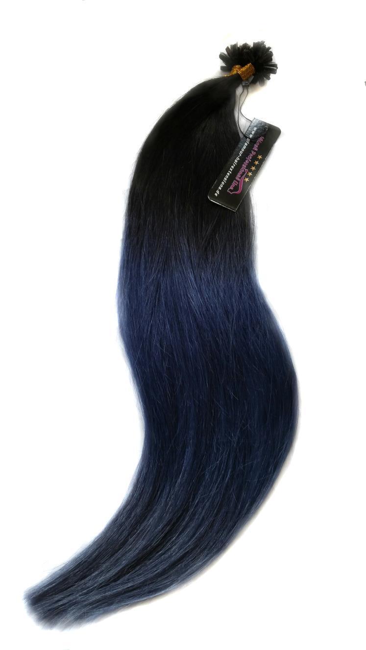 25 REMY indische Echthaar Strähnen - 0,8 Gramm pro Strähne # OMBRE 1/duneklblau/hellblau