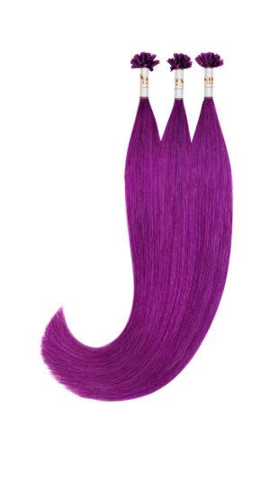 25 REMY indische Echthaar Strähnen - 0,8 Gramm pro Strähne - 40cm # lila