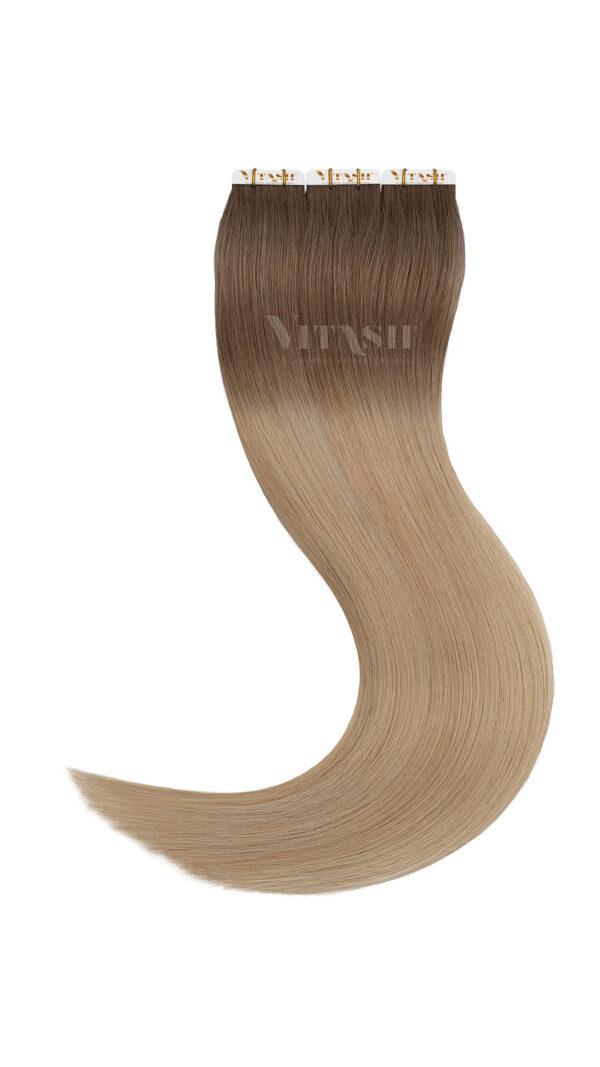 10 Tape In Extensions Haarverlaengerung Farbe Ombre Hellaschbraun / Mittelblond 50cm