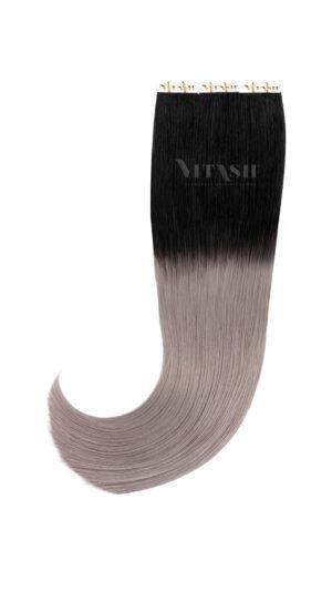 10 Remy Tape In Extensions Haarverlängerung Indische Echthaar Strähnen Tressen Skin Weft | OMBRE Schwarz / Silbergrau 50cm