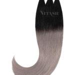 Vitash 25 Keratin Bonding straehnen | Haarverlaengerung | Extensions | Ombre Schwarz Silber Grau | 55cm