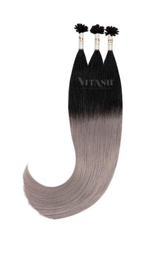25 Indische Remy Echthaar Haarverlängerung Extensions | # OMBRE SCHWARZ-GRAU