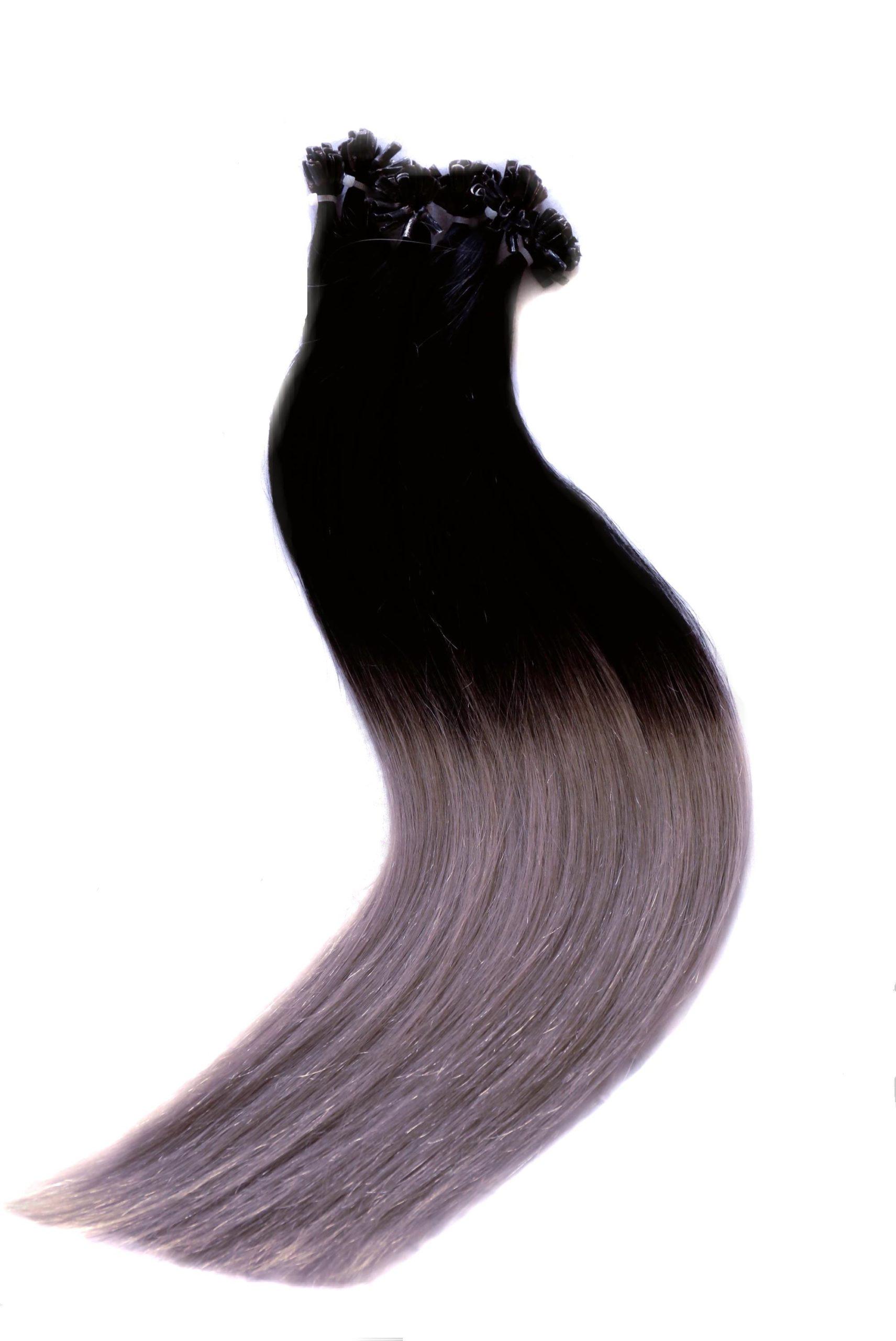 25 REMY OMBRE Style indische Echthaar Strähnen - 0,8 Gramm pro Strähne # OMBRE SCHWARZ/GRAU