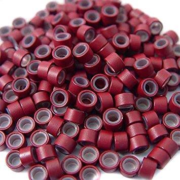 Microringe Ersatz Microringe für Michroring Extensions mit anti rutsch Zysten Silikonaufsatz Rot Burgundy