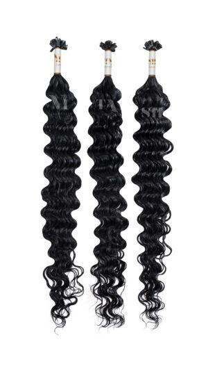 25 REMY Keratin Bonding | Starkgewellt | Dauergewellte | Haarverlängerung | Extensions | Indische Echthaar Strähnen #1- Schwarz