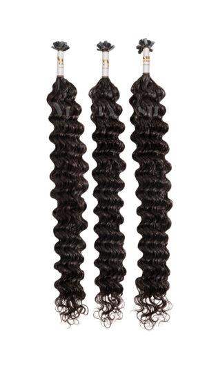 25 REMY Keratin Bonding | Dauergewellte Starkgewellt | Haarverlängerung | Extensions | Indische Echthaar Strähnen | #2- Dunkelbraun