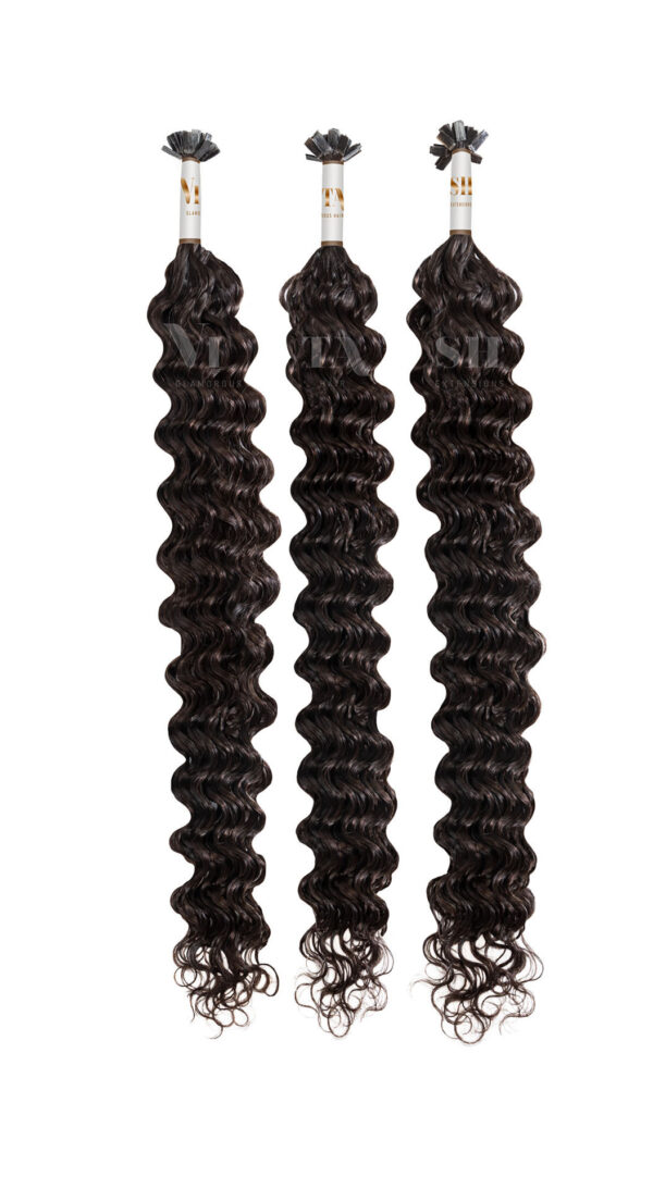 25 REMY Keratin Bonding | Extensions Haarverlaengerung | Stark gewellt | Farbe Dunkelbraun | Dauergewellt