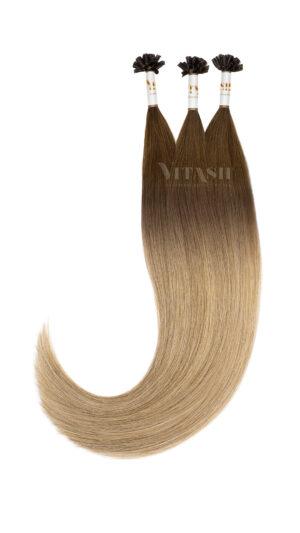 25 REMY indische Echthaar Strähnen - 0,8 Gramm pro Strähne BALAYAGE Karamellbraun/Medium Cappuccino Blonde T3-M8/24
