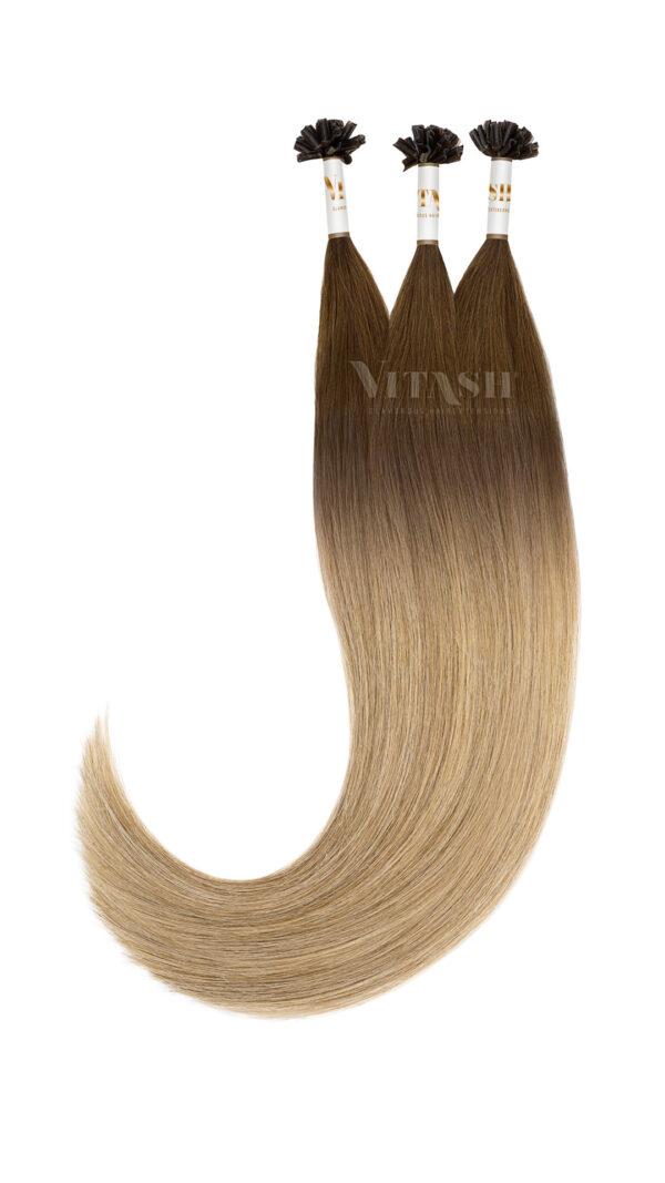Vitash 25 Keratin Bonding strähnen | Haarverlaengerung | Extensions | Farbe Ombre Balayage #T3-M8/24 | 55cm