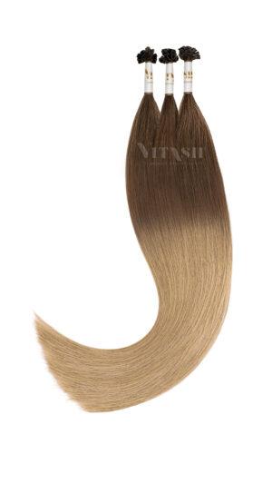 25 REMY OMBRE Style indische Echthaar Strähnen - 0,8 Gramm pro Strähne OMBRE Karamellbraun/Karamellblond #A